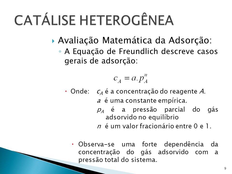Avaliação Matemática da Adsorção: A Equação de Freundlich descreve casos gerais de adsorção: Onde: c A é a concentração do reagente A.