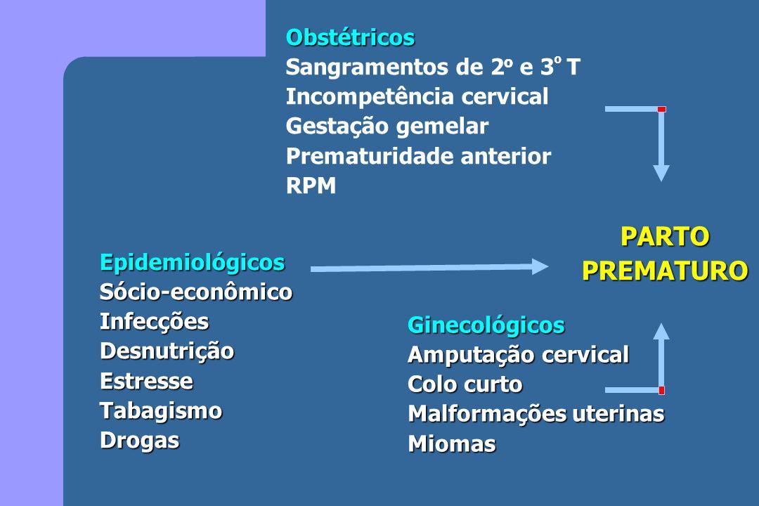 Obstétricos Sangramentos de 2 o e 3 º T Incompetência cervical Gestação gemelar Prematuridade anterior RPM EpidemiológicosSócio-econômicoInfecçõesDesn