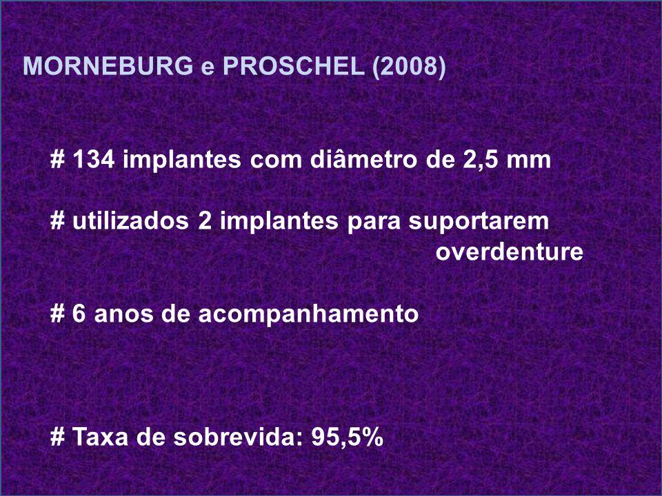 MORNEBURG e PROSCHEL (2008) # 134 implantes com diâmetro de 2,5 mm # utilizados 2 implantes para suportarem overdenture # 6 anos de acompanhamento # T