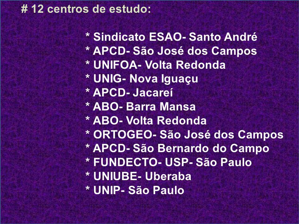 # 12 centros de estudo: * Sindicato ESAO- Santo André * APCD- São José dos Campos * UNIFOA- Volta Redonda * UNIG- Nova Iguaçu * APCD- Jacareí * ABO- B