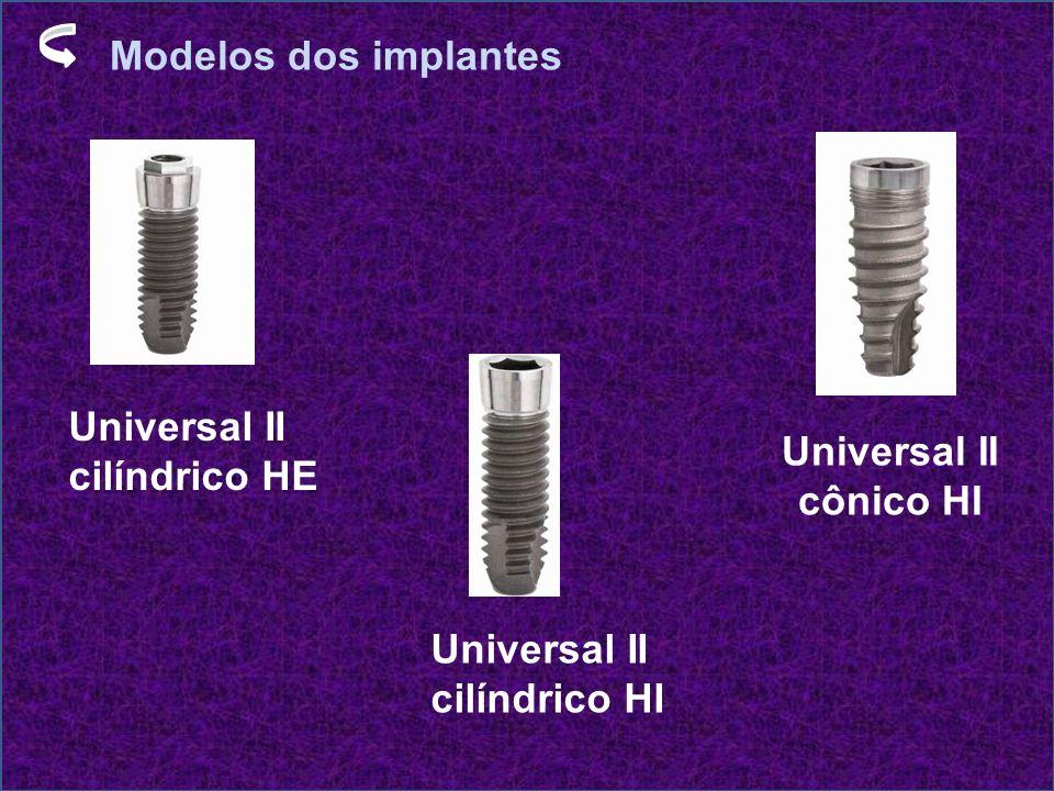 Modelos dos implantes Universal II cilíndrico HE Universal II cilíndrico HI Universal II cônico HI