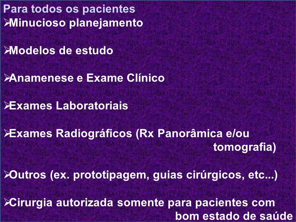 Para todos os pacientes Minucioso planejamento Modelos de estudo Anamenese e Exame Clínico Exames Laboratoriais Exames Radiográficos (Rx Panorâmica e/