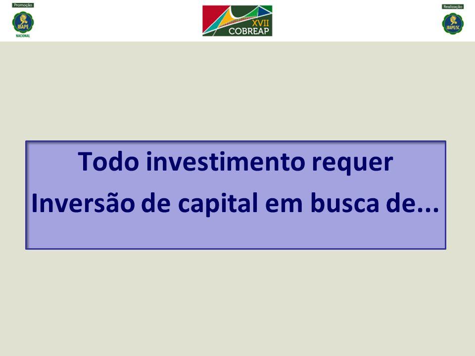 Todo investimento requer Inversão de capital em busca de...