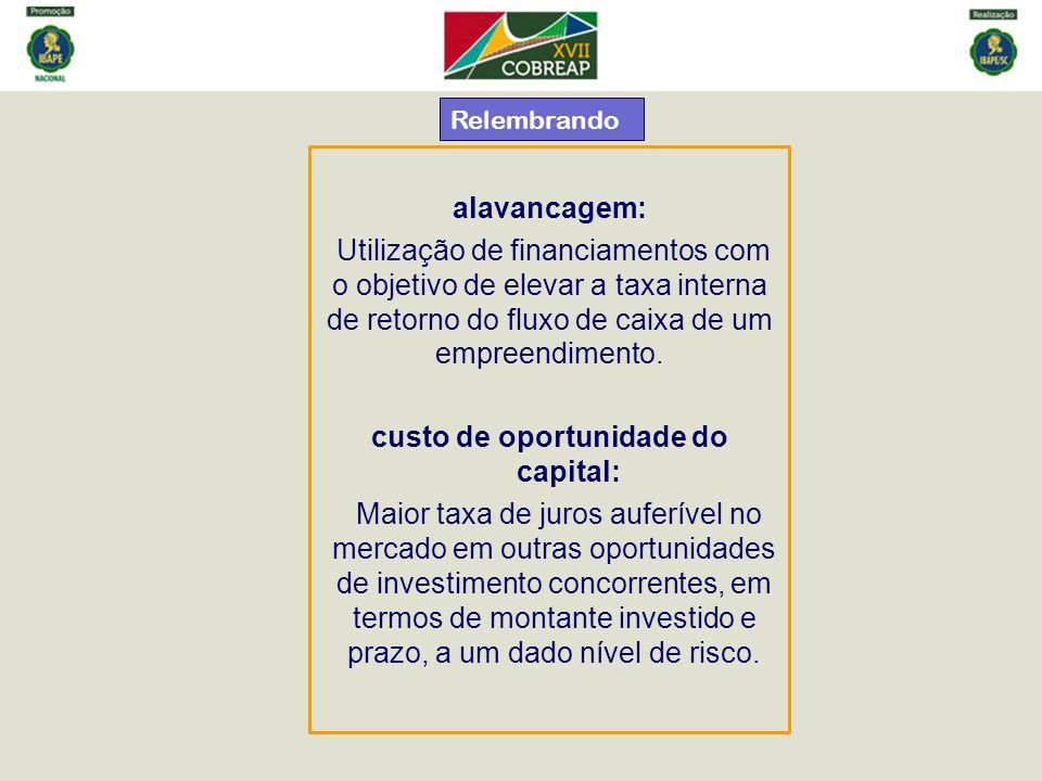 alavancagem: Utilização de financiamentos com o objetivo de elevar a taxa interna de retorno do fluxo de caixa de um empreendimento. custo de oportuni