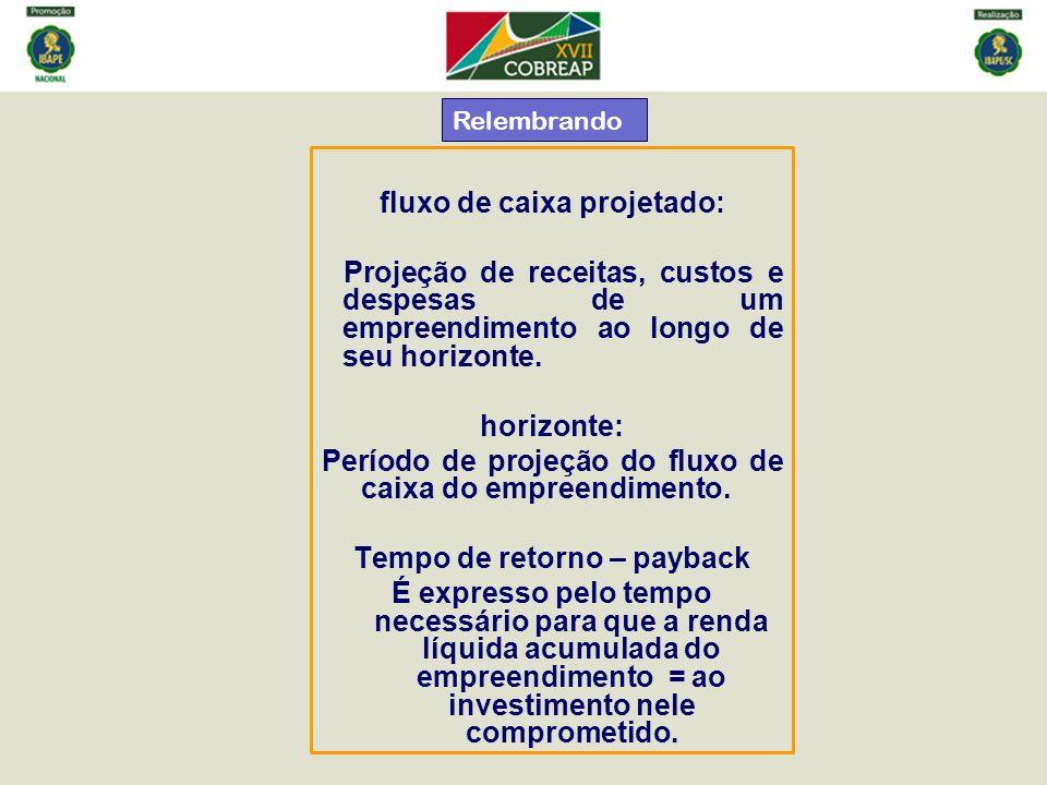 fluxo de caixa projetado: Projeção de receitas, custos e despesas de um empreendimento ao longo de seu horizonte. horizonte: Período de projeção do fl