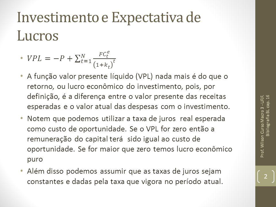 Investimento e Expectativa de Lucros Prof. Wilson Curso Macro 3 - UFJF. Bibliografia BL cap. 16 2