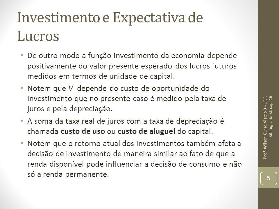 Investimento e Expectativa de Lucros De outro modo a função investimento da economia depende positivamente do valor presente esperado dos lucros futur