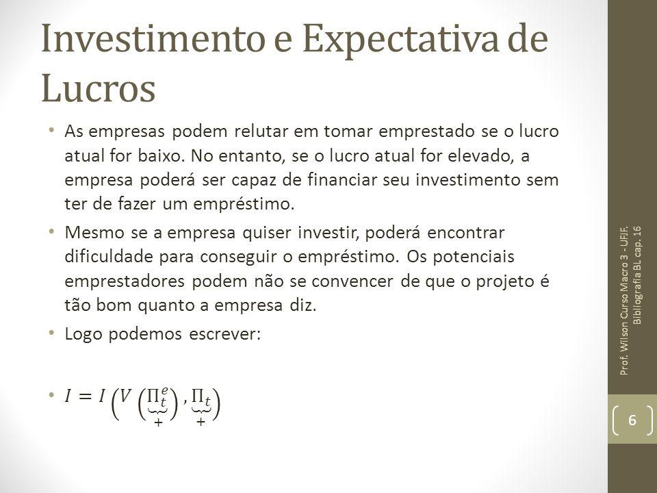 Investimento e Expectativa de Lucros Prof. Wilson Curso Macro 3 - UFJF. Bibliografia BL cap. 16 6
