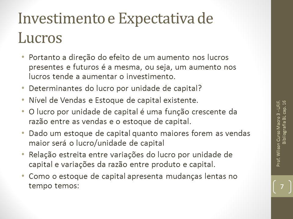 Investimento e Expectativa de Lucros Portanto a direção do efeito de um aumento nos lucros presentes e futuros é a mesma, ou seja, um aumento nos lucr