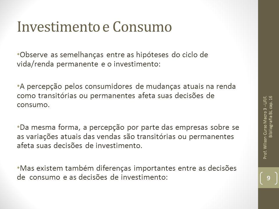 Investimento e Consumo Observe as semelhanças entre as hipóteses do ciclo de vida/renda permanente e o investimento: A percepção pelos consumidores de