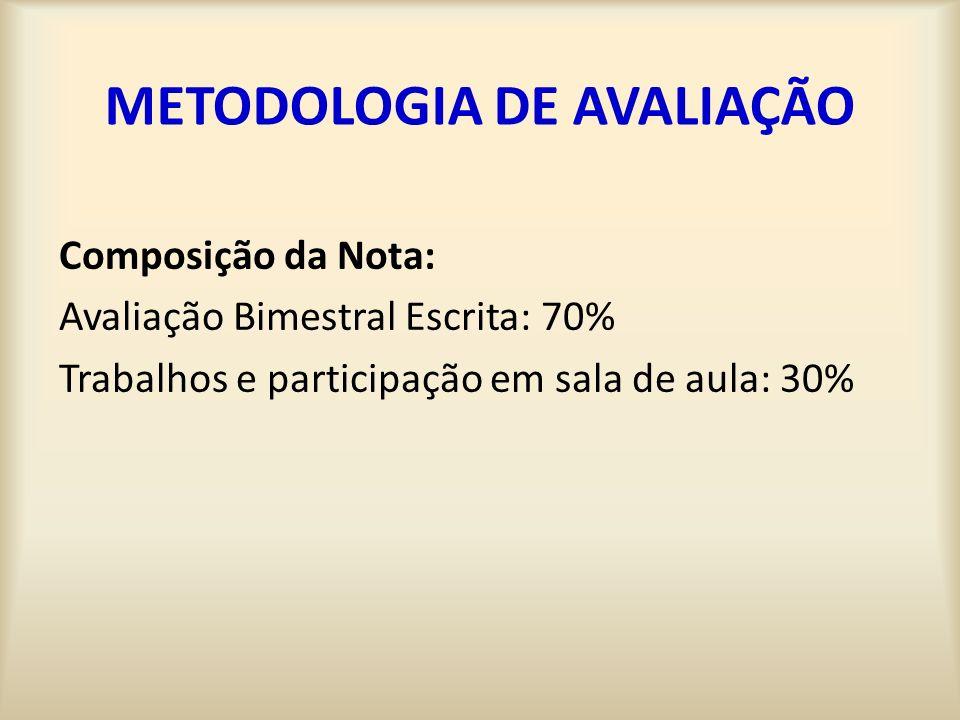 METODOLOGIA DE AVALIAÇÃO Composição da Nota: Avaliação Bimestral Escrita: 70% Trabalhos e participação em sala de aula: 30%