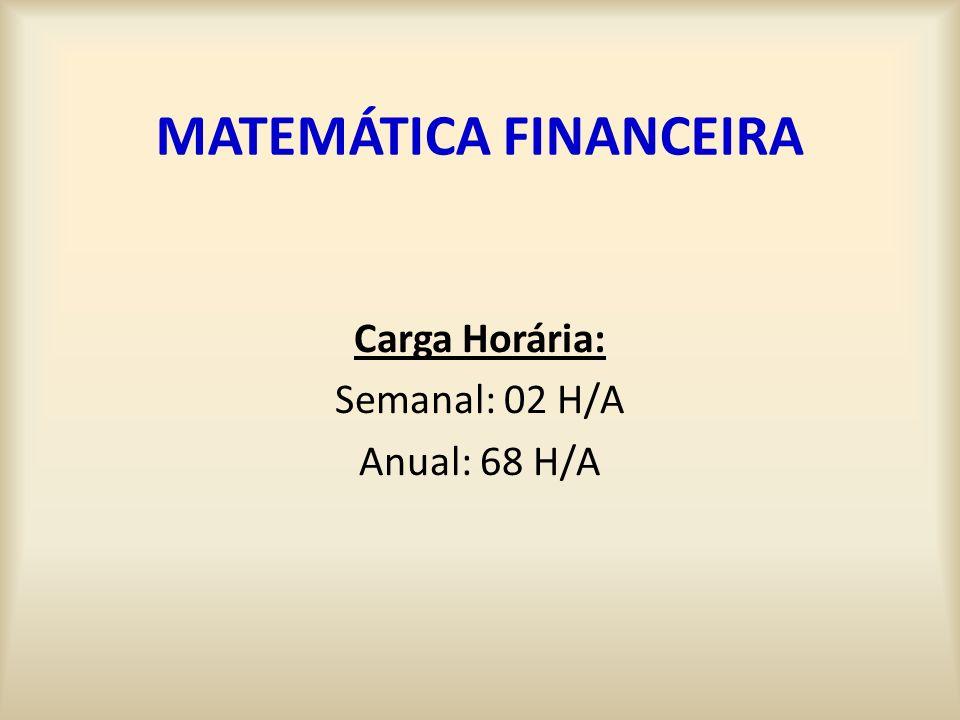 MATEMÁTICA FINANCEIRA Carga Horária: Semanal: 02 H/A Anual: 68 H/A