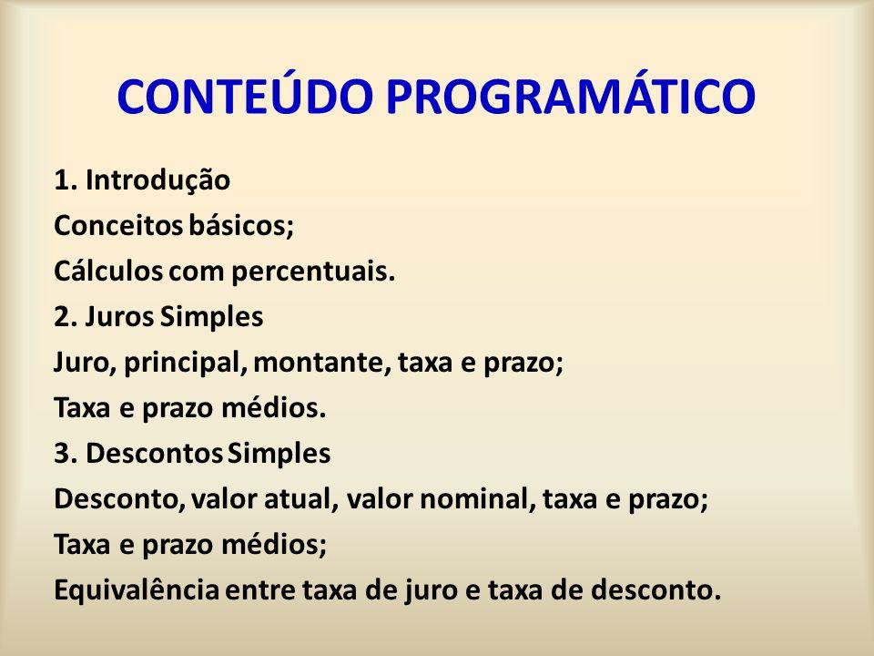 CONTEÚDO PROGRAMÁTICO 1.Introdução Conceitos básicos; Cálculos com percentuais.