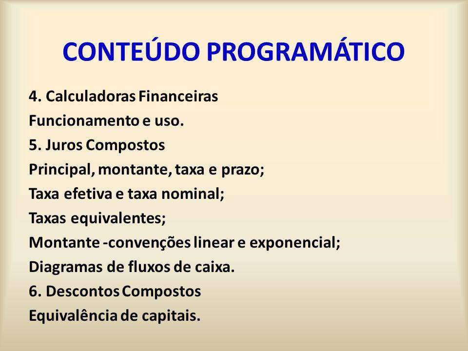 CONTEÚDO PROGRAMÁTICO 4.Calculadoras Financeiras Funcionamento e uso.
