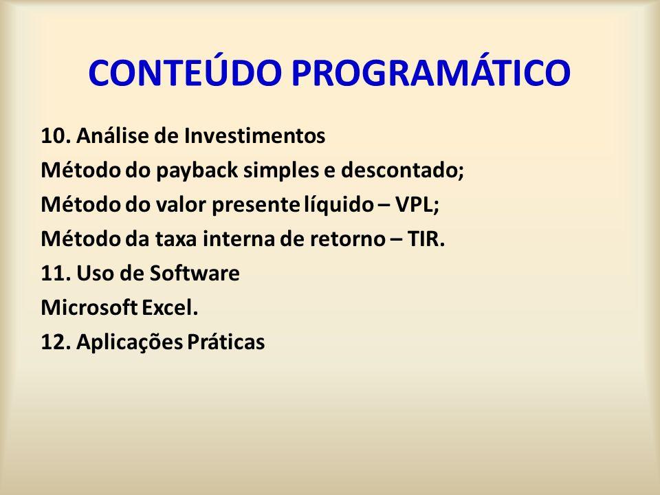 CONTEÚDO PROGRAMÁTICO 10.