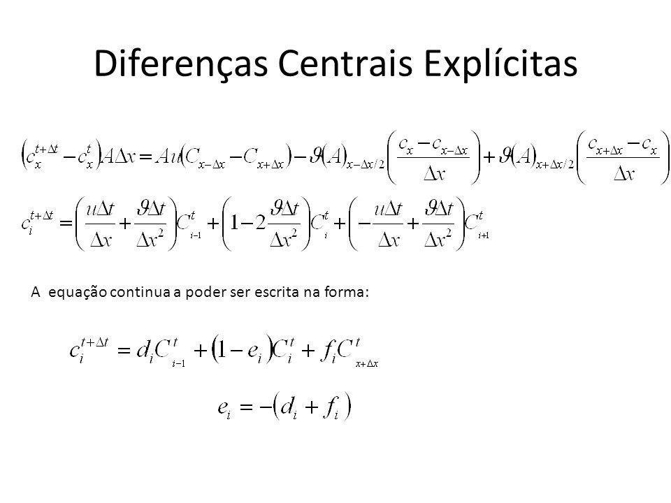 Diferenças Centrais Explícitas A equação continua a poder ser escrita na forma: