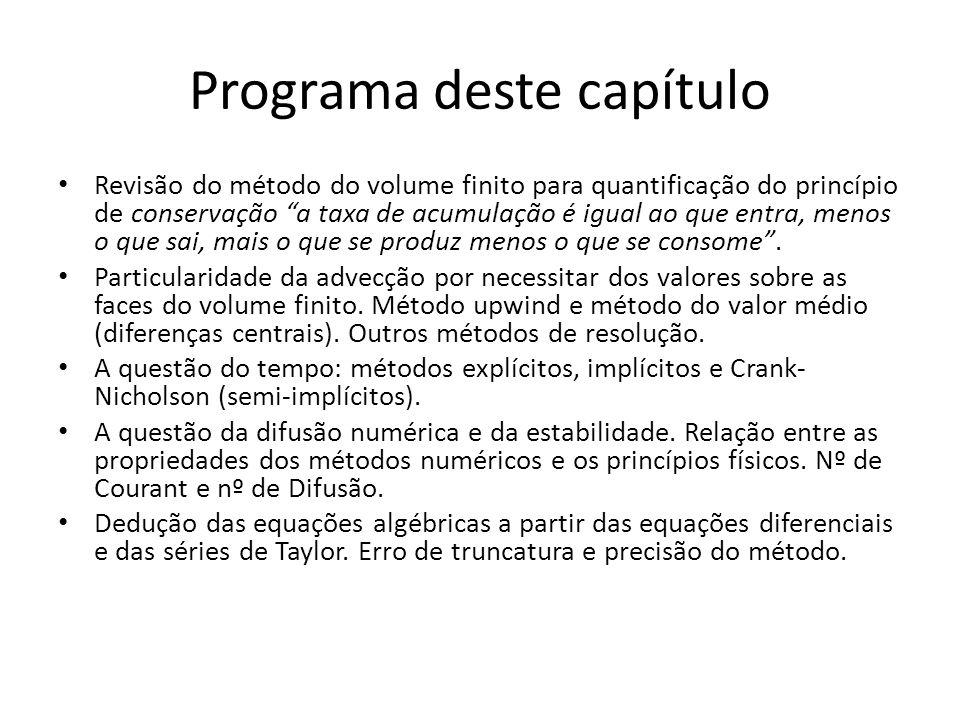 Programa deste capítulo Revisão do método do volume finito para quantificação do princípio de conservação a taxa de acumulação é igual ao que entra, m