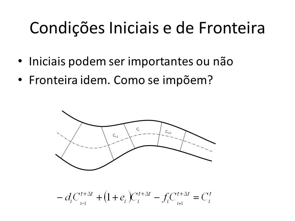 Condições Iniciais e de Fronteira Iniciais podem ser importantes ou não Fronteira idem. Como se impõem? CiCi C i-1 C i+1