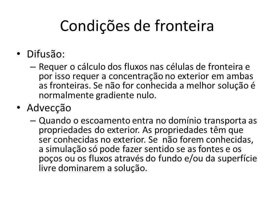 Condições de fronteira Difusão: – Requer o cálculo dos fluxos nas células de fronteira e por isso requer a concentração no exterior em ambas as fronte
