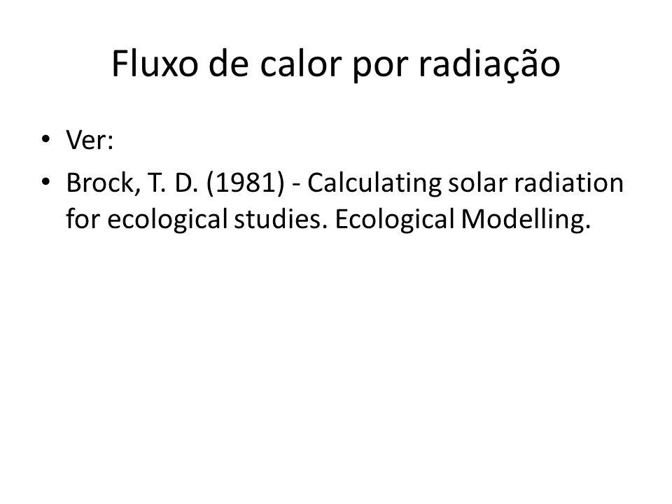 Fluxo de calor por radiação Ver: Brock, T. D. (1981) - Calculating solar radiation for ecological studies. Ecological Modelling.