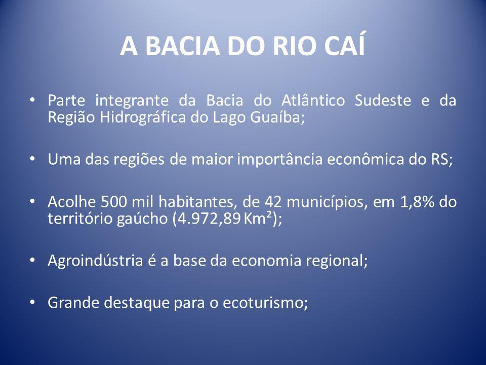 Parte integrante da Bacia do Atlântico Sudeste e da Região Hidrográfica do Lago Guaíba; Uma das regiões de maior importância econômica do RS; Acolhe 5