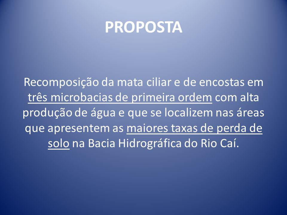 PROPOSTA Recomposição da mata ciliar e de encostas em três microbacias de primeira ordem com alta produção de água e que se localizem nas áreas que ap