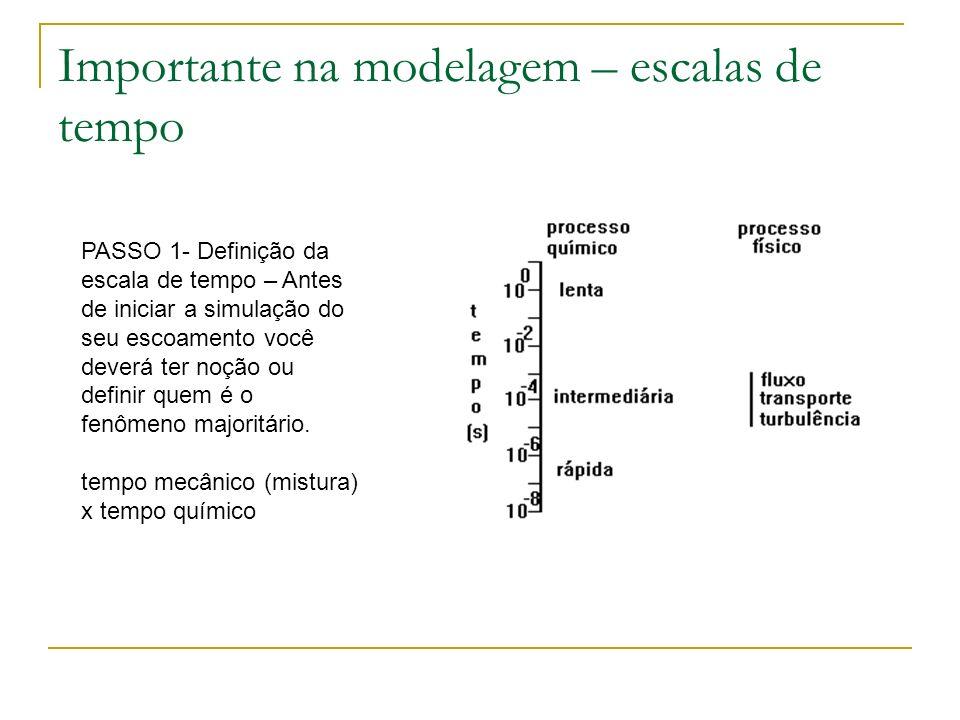 Importante na modelagem – escalas de tempo PASSO 1- Definição da escala de tempo – Antes de iniciar a simulação do seu escoamento você deverá ter noçã