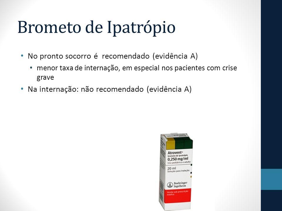 Brometo de Ipatrópio No pronto socorro é recomendado (evidência A) menor taxa de internação, em especial nos pacientes com crise grave Na internação: não recomendado (evidência A)