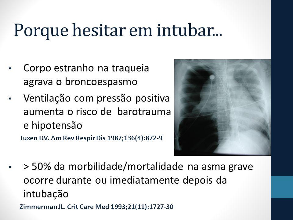 Corpo estranho na traqueia agrava o broncoespasmo Ventilação com pressão positiva aumenta o risco de barotrauma e hipotensão Tuxen DV.