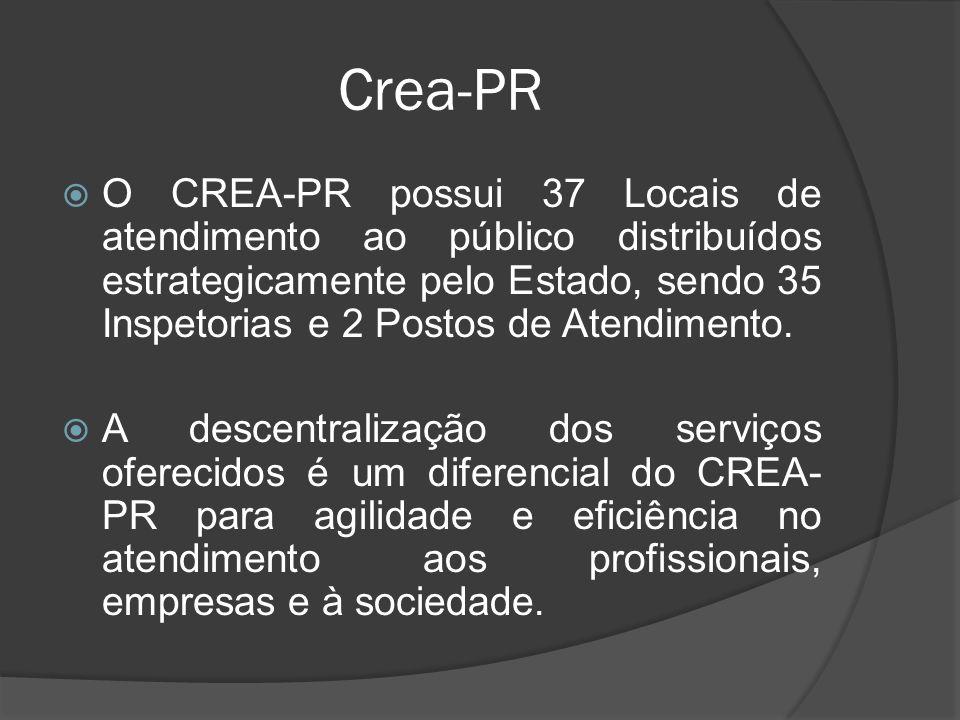 Crea-PR O CREA-PR possui 37 Locais de atendimento ao público distribuídos estrategicamente pelo Estado, sendo 35 Inspetorias e 2 Postos de Atendimento