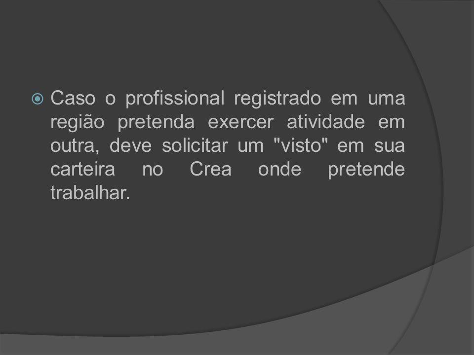 Caso o profissional registrado em uma região pretenda exercer atividade em outra, deve solicitar um