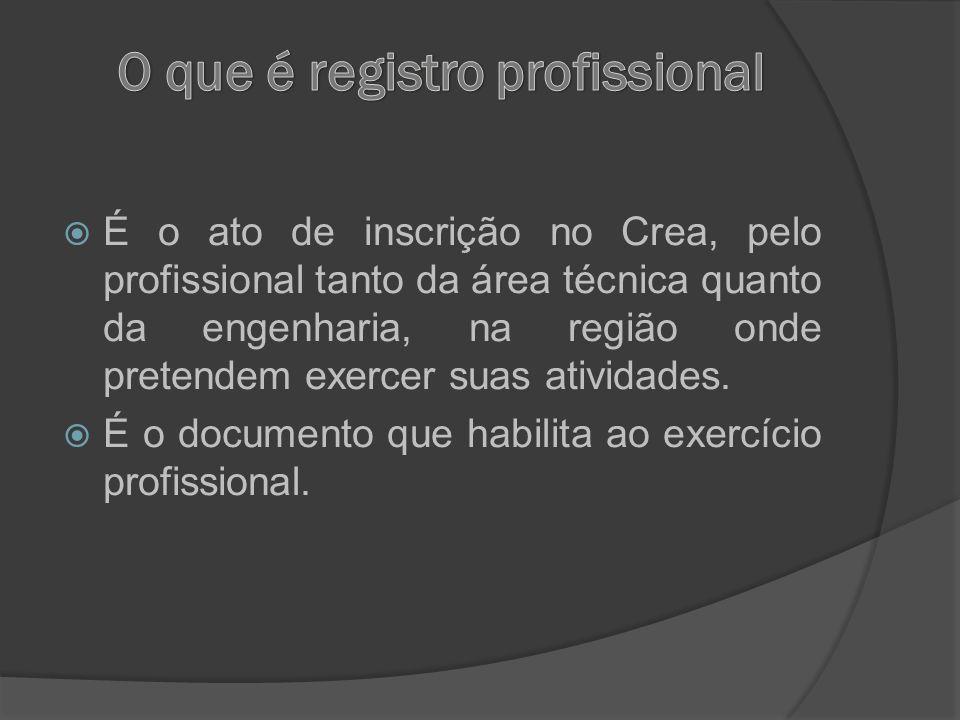 É o ato de inscrição no Crea, pelo profissional tanto da área técnica quanto da engenharia, na região onde pretendem exercer suas atividades. É o docu