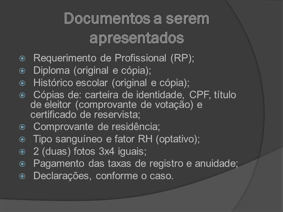 Requerimento de Profissional (RP); Diploma (original e cópia); Histórico escolar (original e cópia); Cópias de: carteira de identidade, CPF, título de