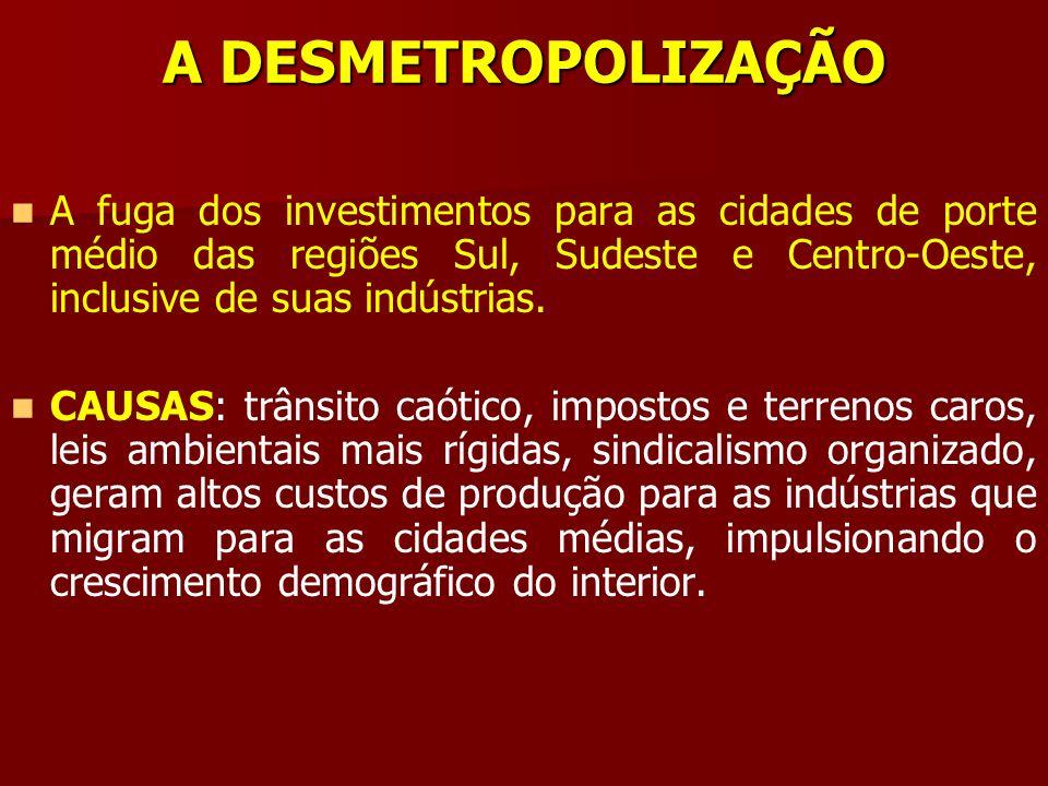 A DESMETROPOLIZAÇÃO A fuga dos investimentos para as cidades de porte médio das regiões Sul, Sudeste e Centro-Oeste, inclusive de suas indústrias. CAU