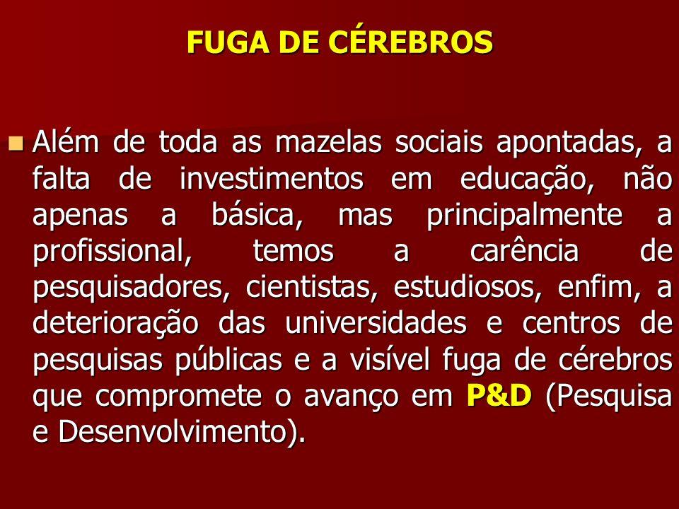 FUGA DE CÉREBROS Além de toda as mazelas sociais apontadas, a falta de investimentos em educação, não apenas a básica, mas principalmente a profission