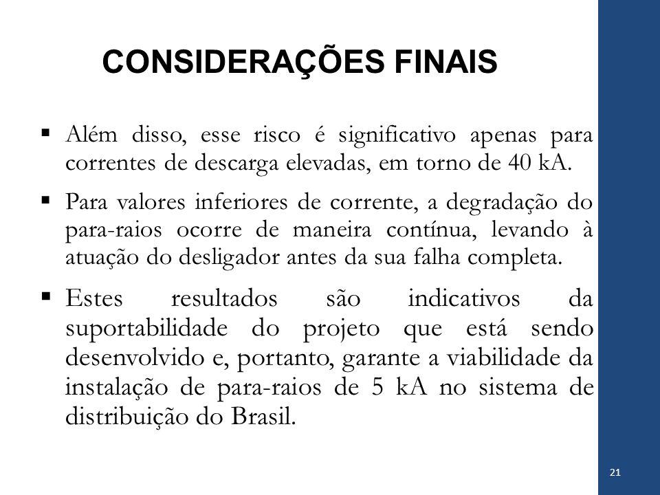 CONSIDERAÇÕES FINAIS Além disso, esse risco é significativo apenas para correntes de descarga elevadas, em torno de 40 kA. Para valores inferiores de