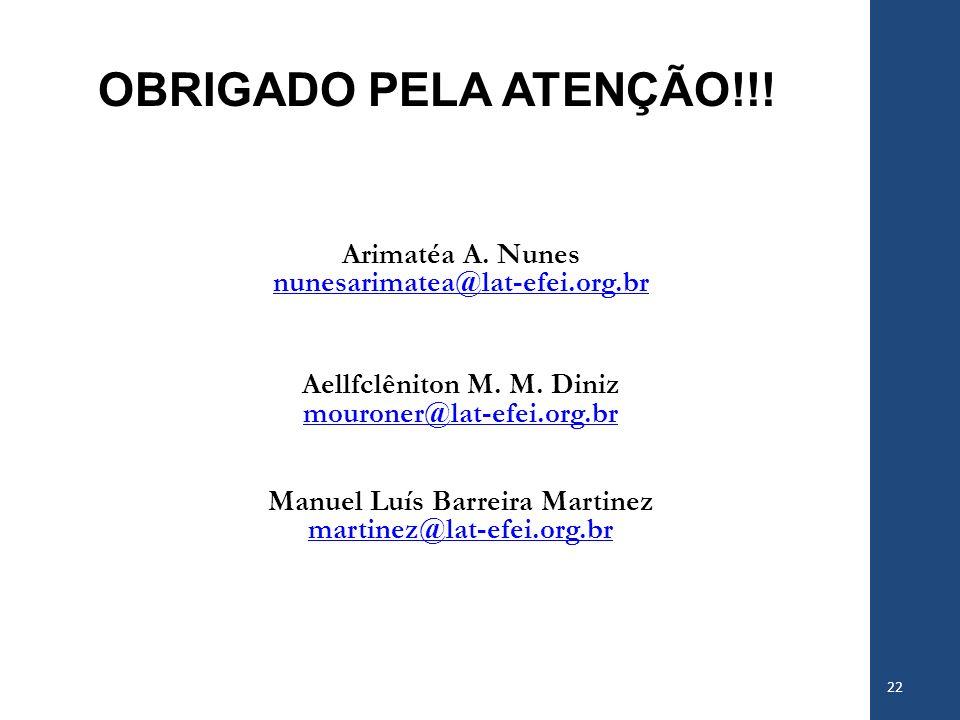 OBRIGADO PELA ATENÇÃO!!! Arimatéa A. Nunes nunesarimatea@lat-efei.org.br Aellfclêniton M. M. Diniz mouroner@lat-efei.org.br Manuel Luís Barreira Marti