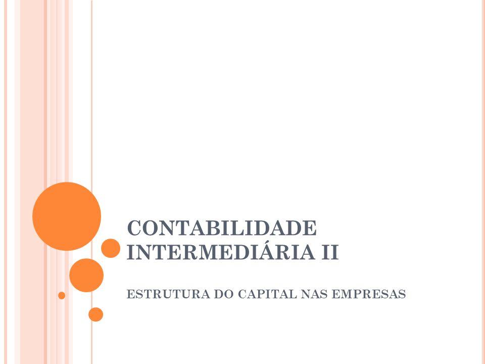 CONTABILIDADE INTERMEDIÁRIA II ESTRUTURA DO CAPITAL NAS EMPRESAS