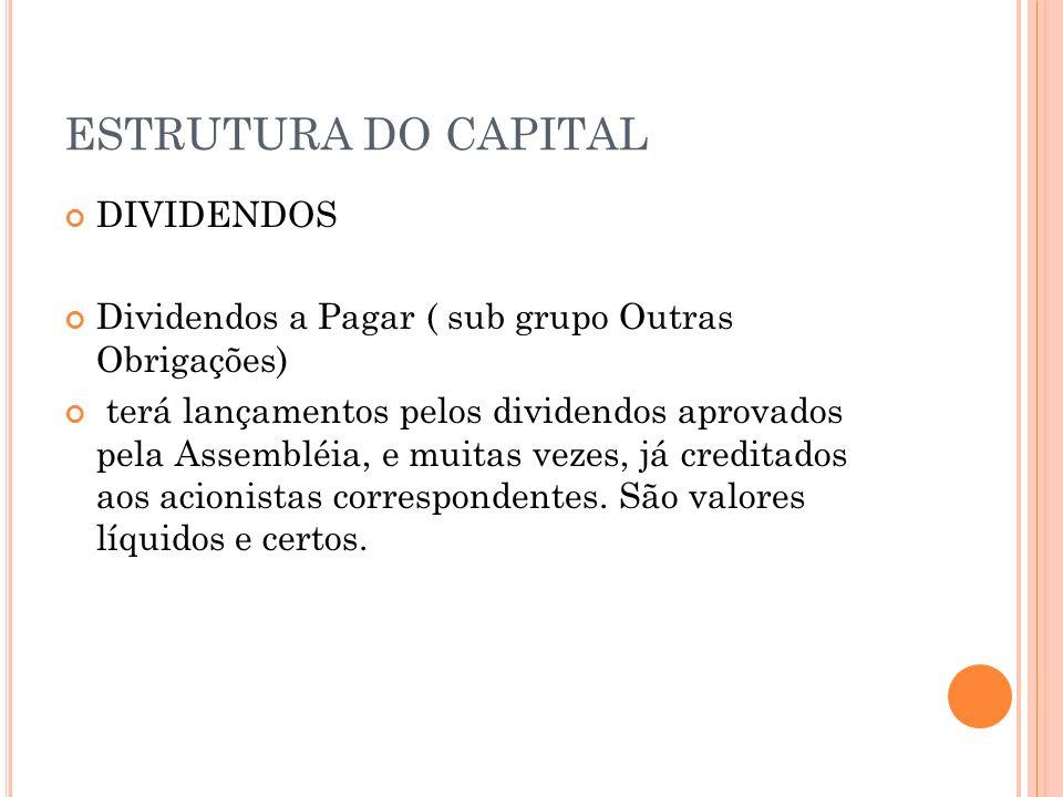 ESTRUTURA DO CAPITAL DIVIDENDOS Dividendos a Pagar ( sub grupo Outras Obrigações) terá lançamentos pelos dividendos aprovados pela Assembléia, e muita