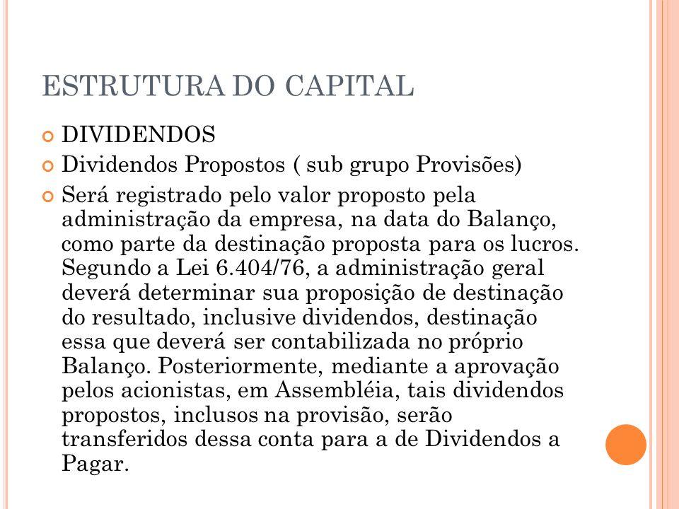 ESTRUTURA DO CAPITAL DIVIDENDOS Dividendos Propostos ( sub grupo Provisões) Será registrado pelo valor proposto pela administração da empresa, na data
