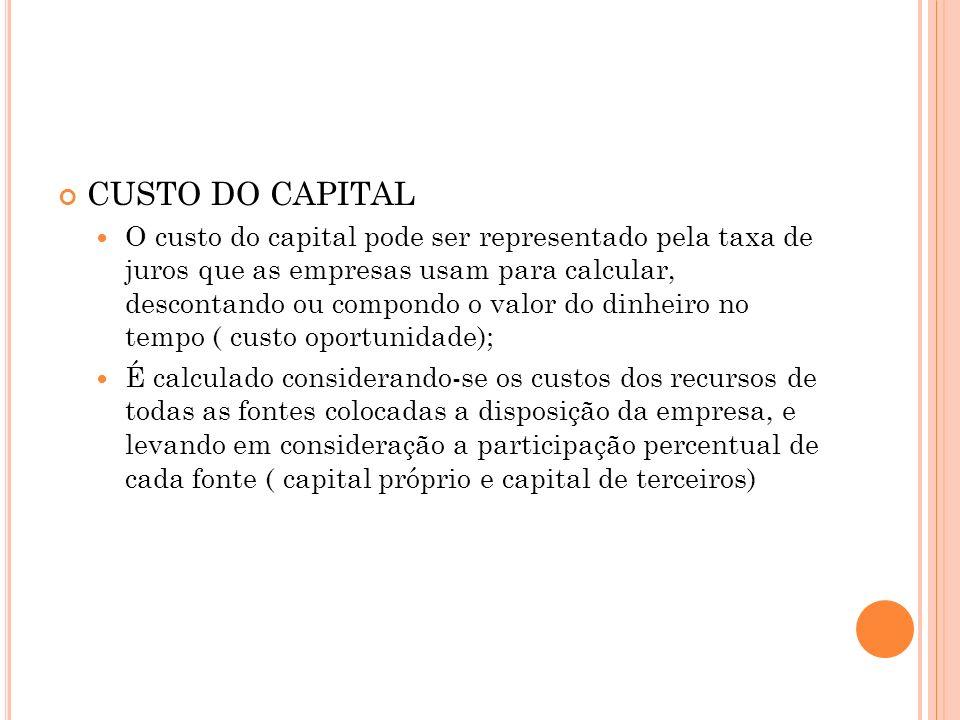 CUSTO DO CAPITAL O custo do capital pode ser representado pela taxa de juros que as empresas usam para calcular, descontando ou compondo o valor do di