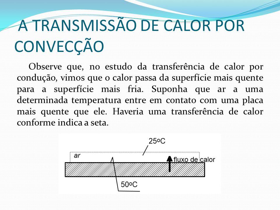 A TRANSMISSÃO DE CALOR POR CONVECÇÃO Observe que, no estudo da transferência de calor por condução, vimos que o calor passa da superfície mais quente para a superfície mais fria.