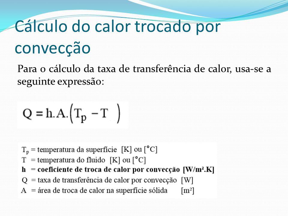 Cálculo do calor trocado por convecção Para o cálculo da taxa de transferência de calor, usa-se a seguinte expressão: