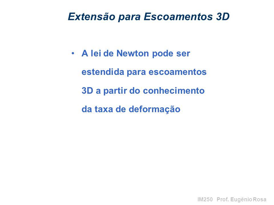 IM250 Prof. Eugênio Rosa Extensão para Escoamentos 3D A lei de Newton pode ser estendida para escoamentos 3D a partir do conhecimento da taxa de defor