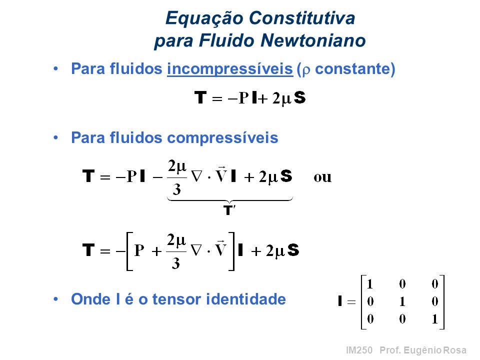 IM250 Prof. Eugênio Rosa Equação Constitutiva para Fluido Newtoniano Para fluidos incompressíveis ( constante) Para fluidos compressíveis Onde I é o t