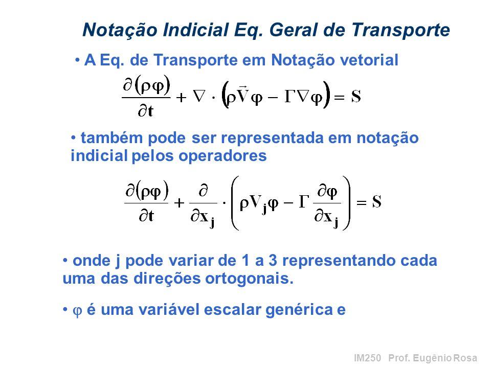 IM250 Prof. Eugênio Rosa Notação Indicial Eq. Geral de Transporte onde j pode variar de 1 a 3 representando cada uma das direções ortogonais. é uma va