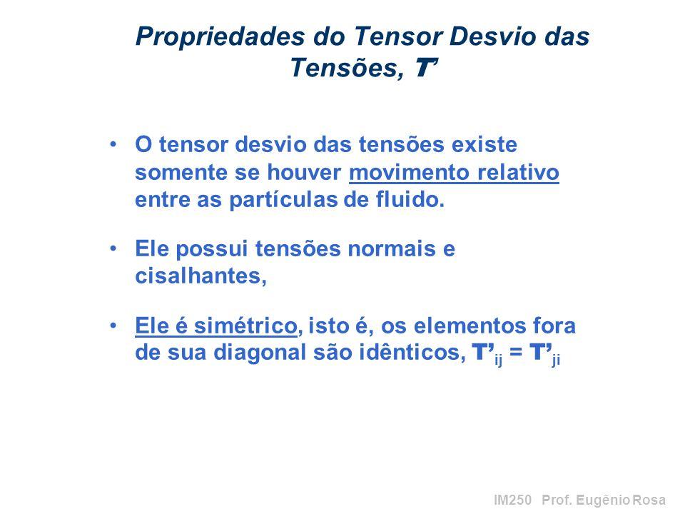 IM250 Prof. Eugênio Rosa Propriedades do Tensor Desvio das Tensões, T O tensor desvio das tensões existe somente se houver movimento relativo entre as
