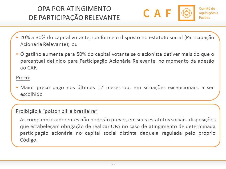OPA POR ATINGIMENTO DE PARTICIPAÇÃO RELEVANTE 27. 20% a 30% do capital votante, conforme o disposto no estatuto social (Participação Acionária Relevan