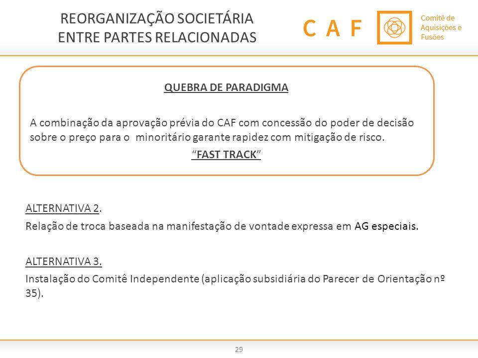 REORGANIZAÇÃO SOCIETÁRIA ENTRE PARTES RELACIONADAS 29 ALTERNATIVA 2. Relação de troca baseada na manifestação de vontade expressa em AG especiais. ALT