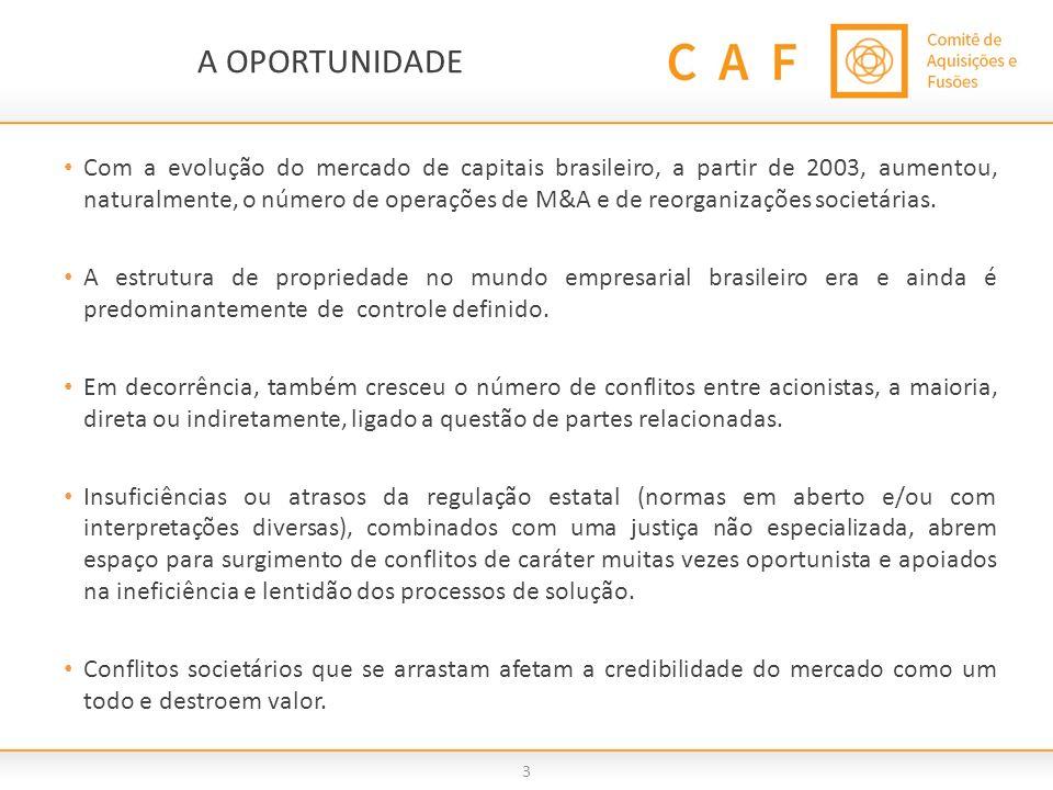 3 A OPORTUNIDADE Com a evolução do mercado de capitais brasileiro, a partir de 2003, aumentou, naturalmente, o número de operações de M&A e de reorgan